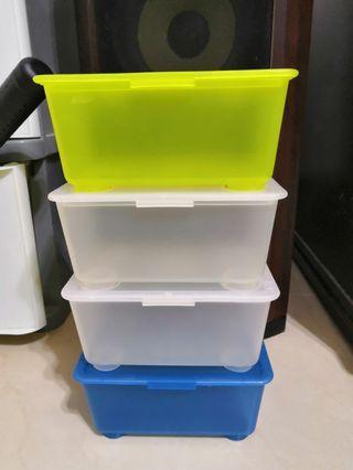 🚚 IKEA GLIS  附蓋收納盒    白藍黃色4個