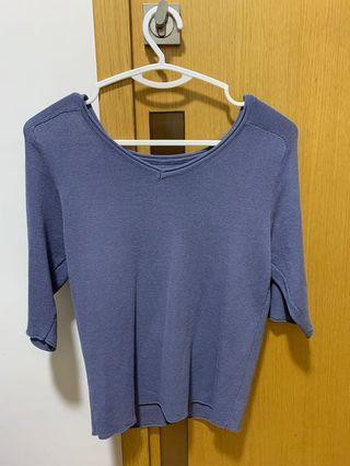 淺藍v領上衣 上班族 blue top