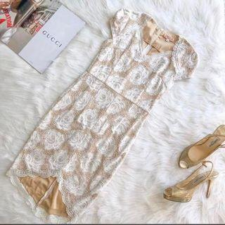 Beautiful Nude Beige Rose Fitted Dress