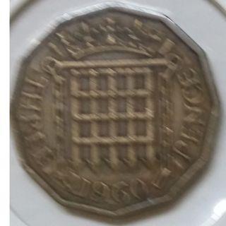 Vintage Queen Elizabeth II 3 Pence Coin 1960