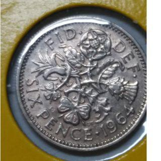 Vintage Queen Elizabeth II 6 Pence Coin 1964
