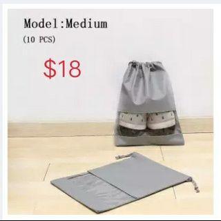 Grey non-woven cloth shoe bag receiving bag beam-mouth