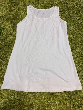 女裝白色長身背心襯衫 Ladies white top