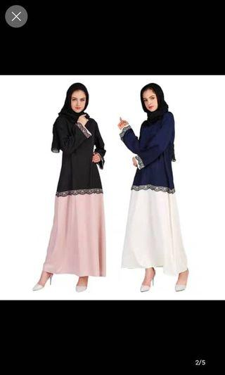 Muslim long black and blue lace dress