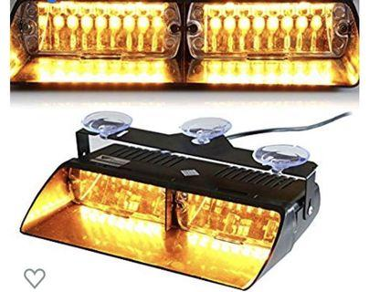 (3496) T Tocas 16 LEDs 12v LED Law Enforcement Emergency Hazard Warning Strobe Lights with Suction Cups Amber Yellow