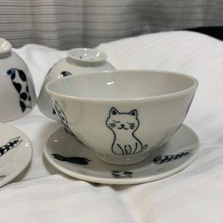 日本帶回日本製貓咪碗加小盤子一組