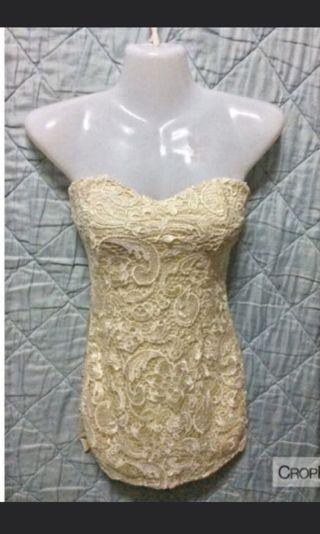 Sweetheart Lace Bustier in Cream White