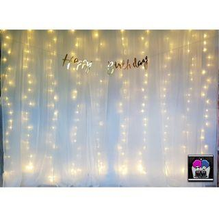Photobooth Lace and Fairy Lights Backdrop