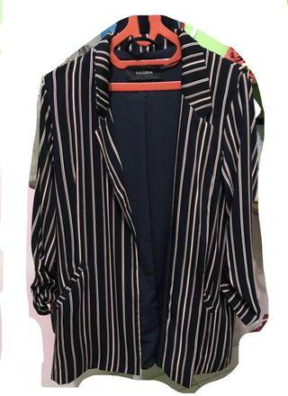Pull and bear ruched sleeve blazer