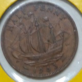 Vintage Queen Elizabeth II Half penny Coin 1963