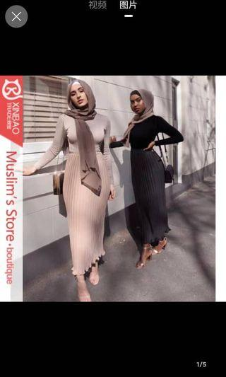 Long skirt muslimah wear available in 6 different colors