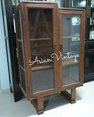 Vintage U-Leg Solid Wood (glass on front 3 sides) Display Cabinet