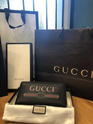 「全新」Gucci塗鴉款Logo拉鍊長夾