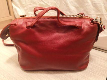 Bally red leather bag