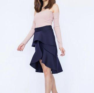Ruffle High Waist Midi Skirt in Navy Blue #JuneToGo