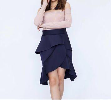 Ruffle High Waist Skirt Dinner Dress Navy Blue #JuneToGo