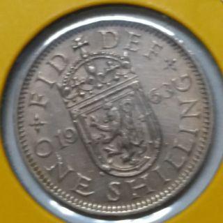 Vintage Queen Elizabeth II 1 Shilling Coin 1963