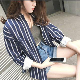 Blue striped outerwear