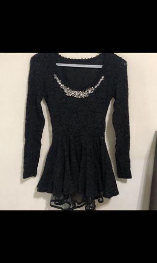 🚚 黑色全蕾絲短洋裝