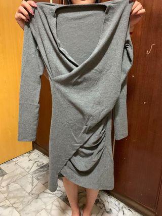 🚚 灰色 棉質 洋裝