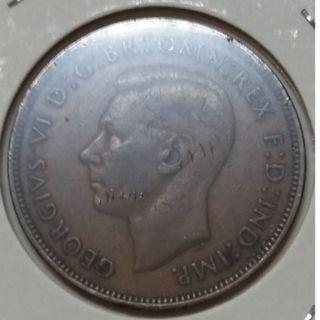 Vintage King Georgivs VI One Penny Copper Coin 1945