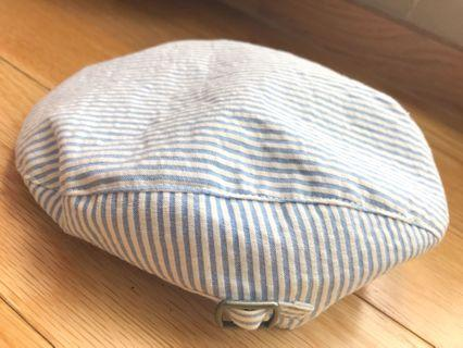 Striped Blue and White Newsboy Cap