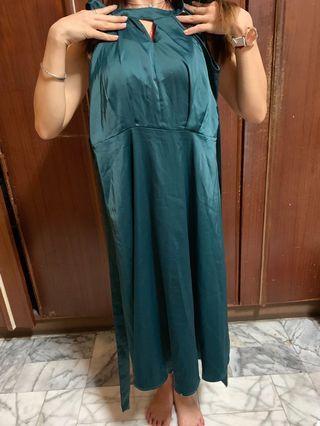 緞面 洋裝 綠