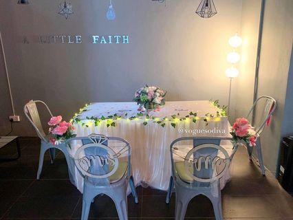 Rental champagne table tutu tulle skirting and table cloth