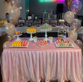 Rental Pink table tulle tutu skirting with table cloth dessert stands