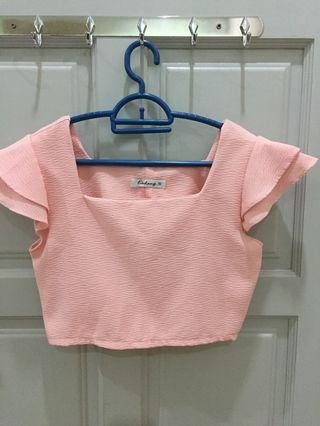 Pink raffle sleeve cropped top