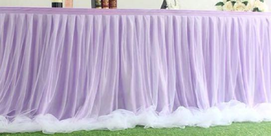 Rental purple tulle tutu table skirting with table cloth