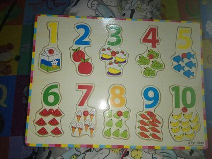 Puzzle knob angka