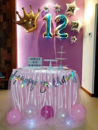 Rental pink tulle tutu skirting and table cloth dessert stands