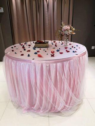 Rental 3m pink tutu tulle table skirting with table cloth
