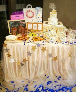 Rental champagne tutu tulle table skirting dessert table