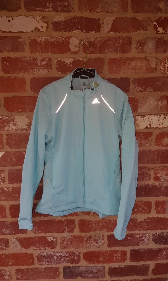 Adidas Light Blue Climalite Jacket -Running Windbreaker Jacket L