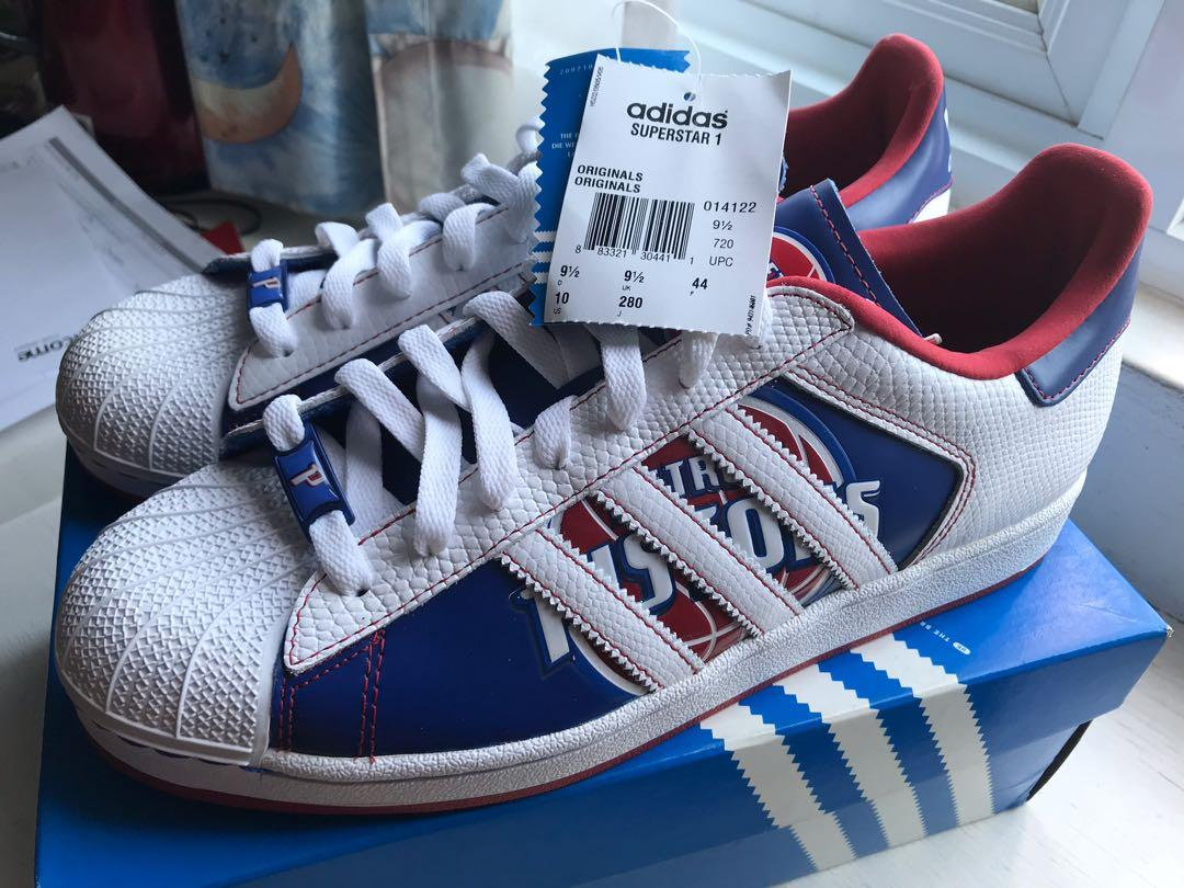 authentic in stock first look Adidas Superstar 1 NBA Limited Edition Detroit Pistons Shoe ...