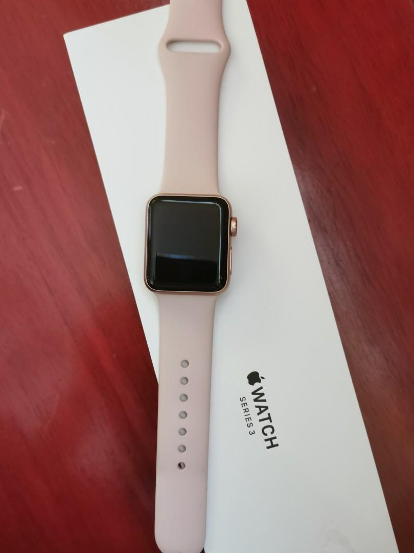 check out e33ce ab66b Apple Watch Series 3 38mm Gold Aluminum Pink Sand Sport Band (GPS ...