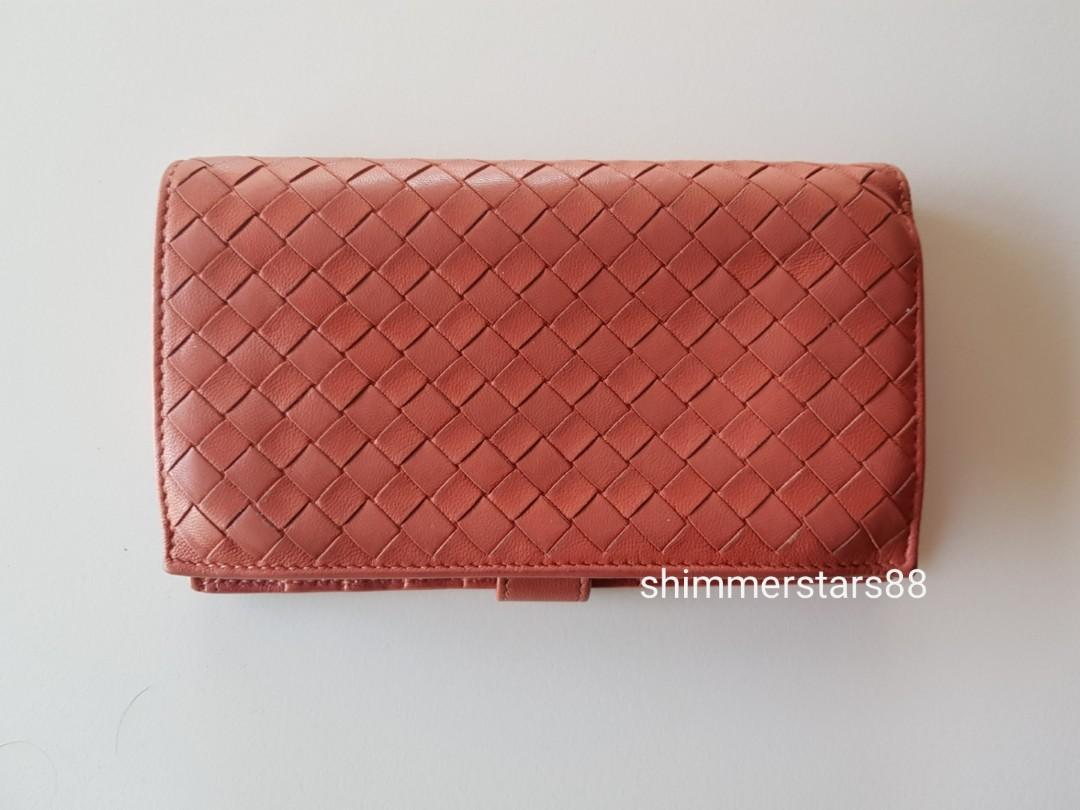 Authentic Bottega Veneta BV Interlaced Intrecciato Leather Continental Wallet, Free tracked postage
