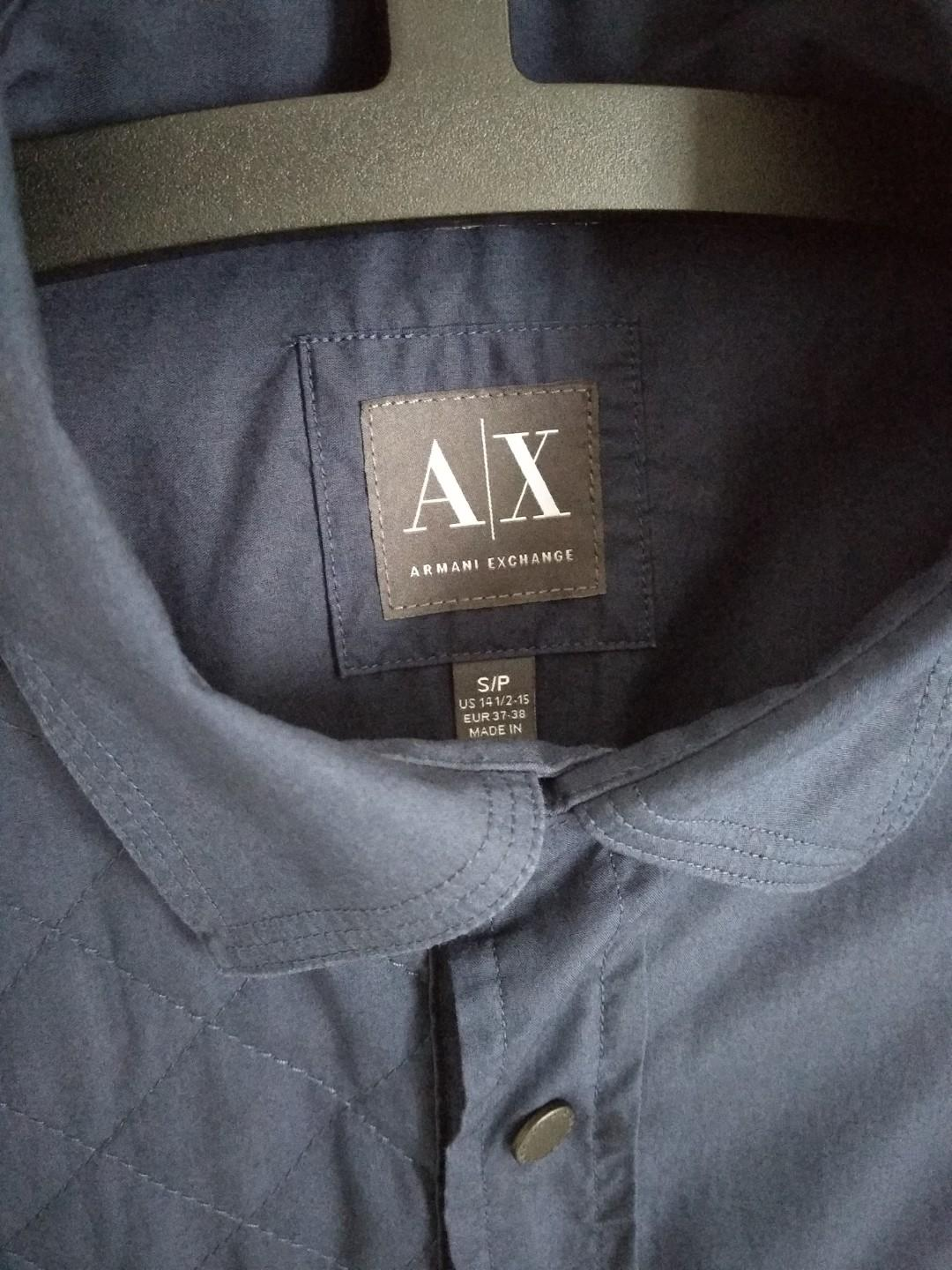 AX Men Armani Exchange Quilted Front Logo Snap Button Shirt #MGAG101