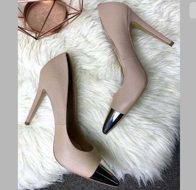 Diavolina sz 41/US10 dusty pink nude beige leather stiletto shoes heels pumps