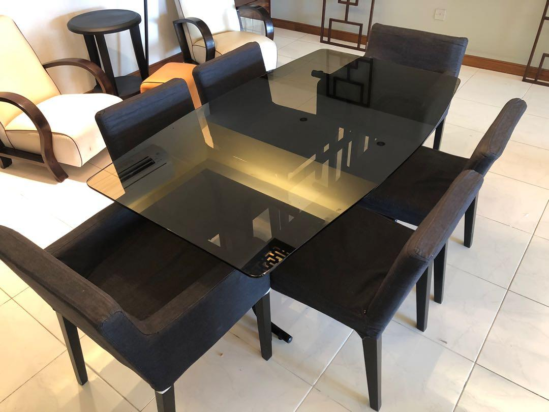 Glass TOP Dining Table with 6 chairs - urgent