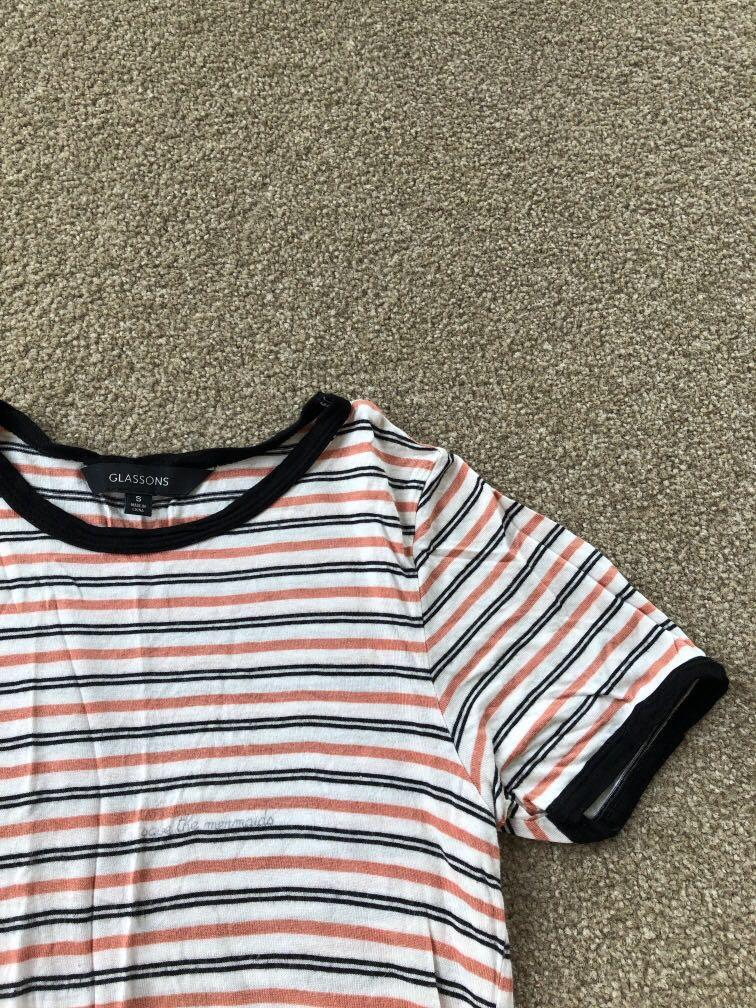 Glassons Rust Orange Striped Ringer tee
