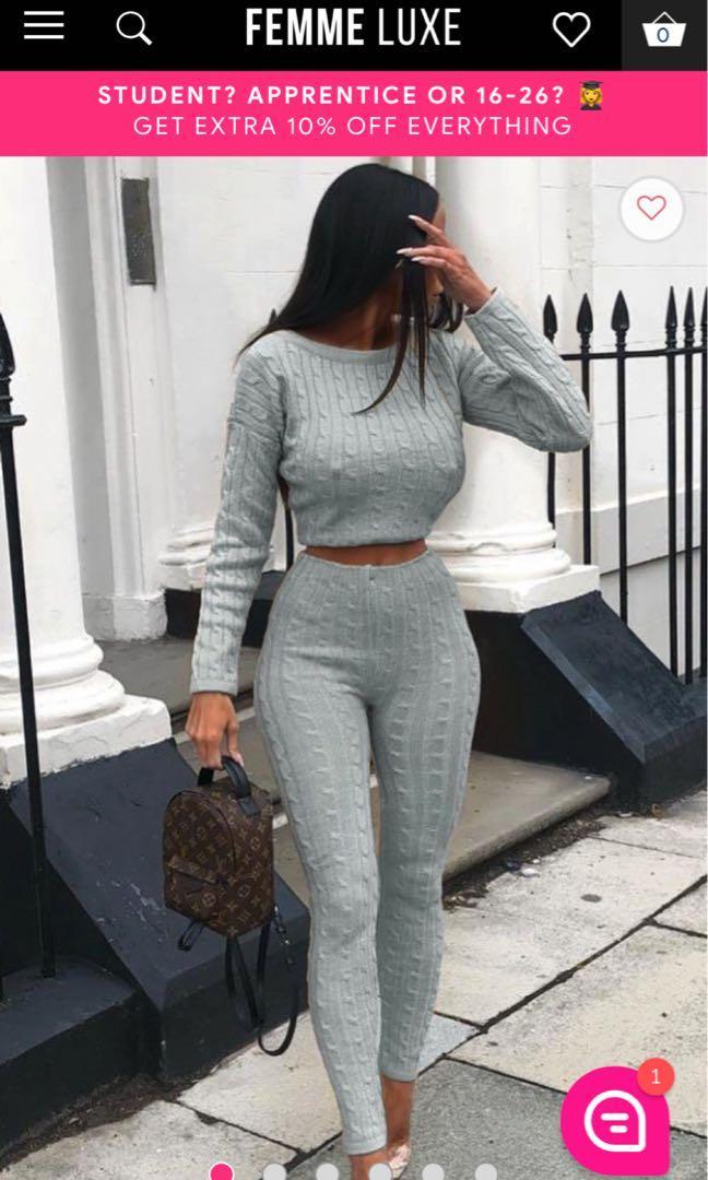 Grey Cable Knit Loungewear Set - Alison (FemmeLuxeFinery)