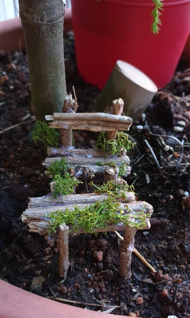 Handmade table and bench accessory for fairy garden