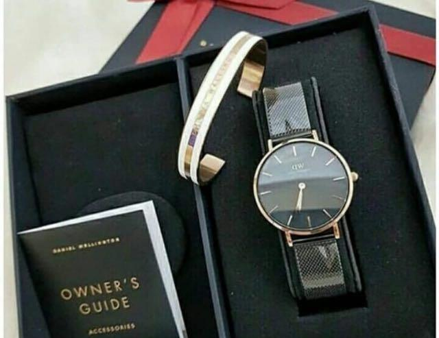 Jam Tangan SET BRACELET Daniel Wellington Classic Petite sheffield Rose Gold 32mm