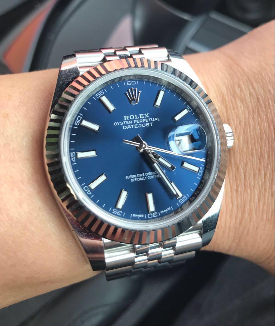 LNIB Rolex Datejust 41 Blue dial jubilee bracelet, Luxury