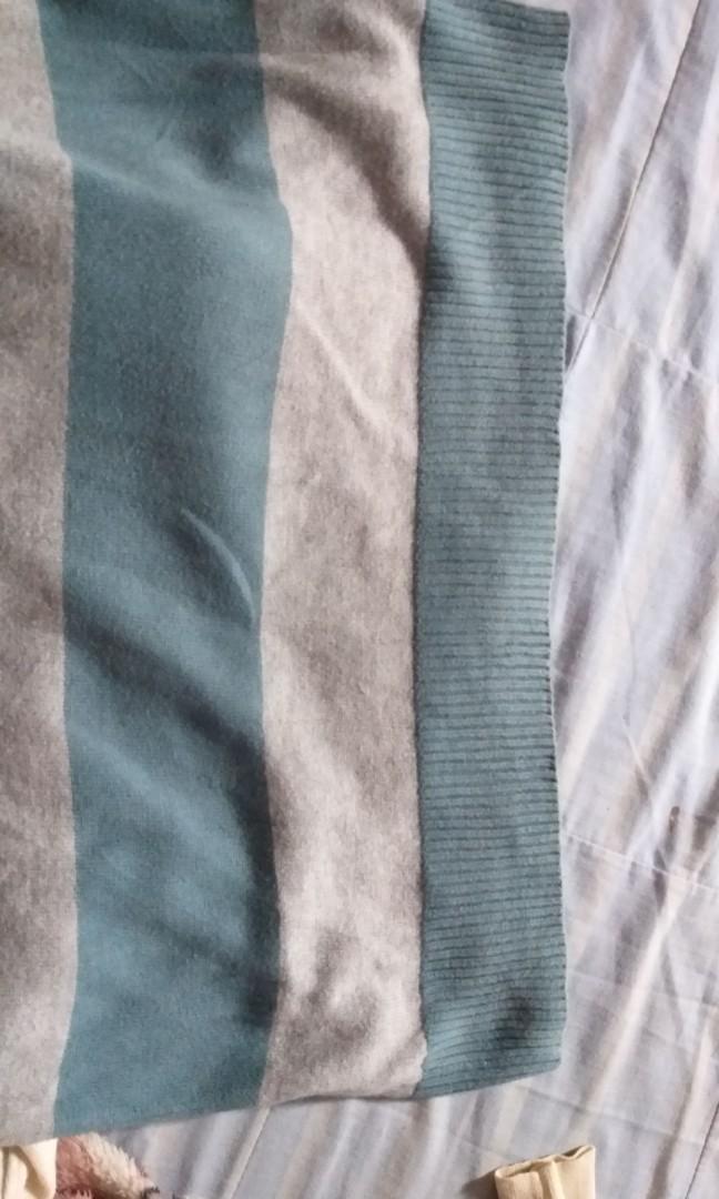 LONG STRIPE SWEATER BLUE-GREY