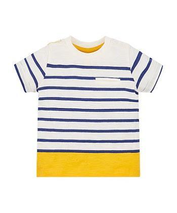 Mothercare Navy Yellow White Stripe Pocket T-Shirt