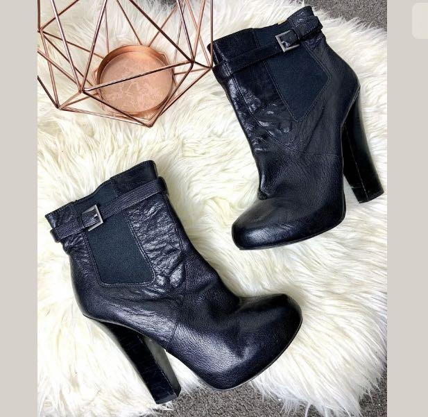Nine West sz 40.5/US9.5 black ankle boots leather shoes high heels chic stripper